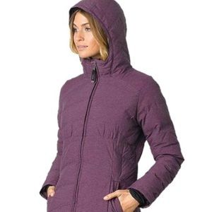 NWT Prana Purple Long Hooded Down Jacket
